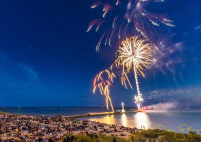 Fireworks over beach