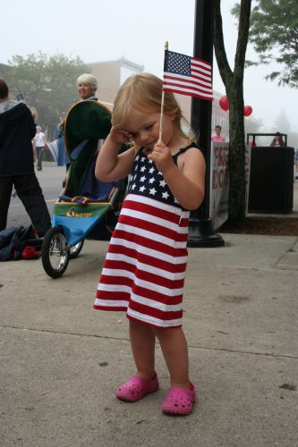 Little Girl dressed up for 4th of July