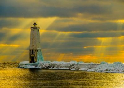 Lighthouse covered in snow